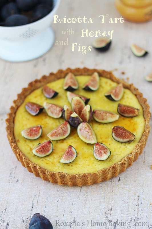 creamy, sweet ricotta tart brushed with honey and decorated with ...