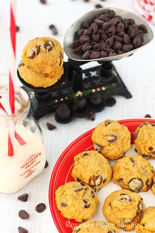 Chocolate-chip pumpkin muffin top cookies - moist, cake-like cookies, packed with pumpkin sweetness and full of chocolate-chips. Recipe from Roxanashomebaking.com