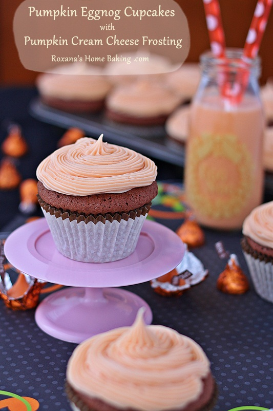 Sweet and flavorful from the eggnog and pumpkin spices, these pumpkin eggnog chocolate cupcakes are topped with a pumpkin flavored cream cheese frosting