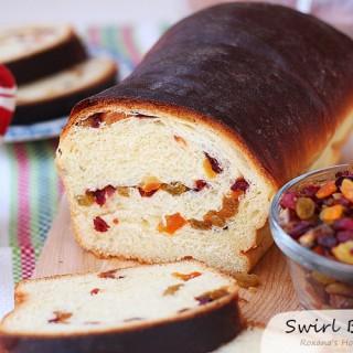 Romanian dried fruit swirl bread