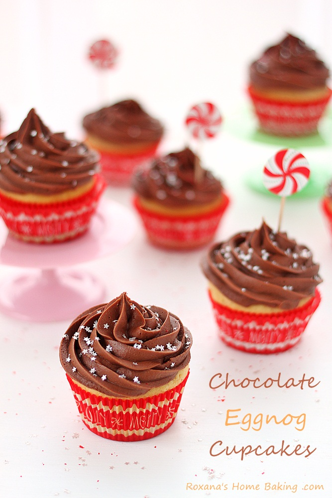 Flavorful eggnog cupcakes topped with velvety chocolate cream cheese frosting
