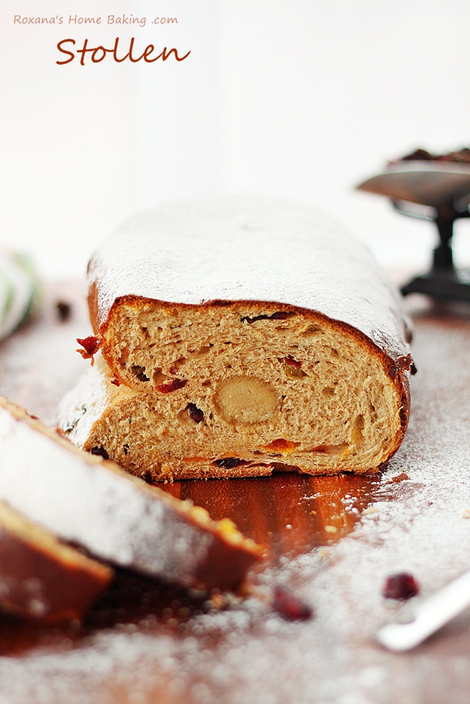 sweet German yeast bread, stollen is packed with rum soaked fruit ...