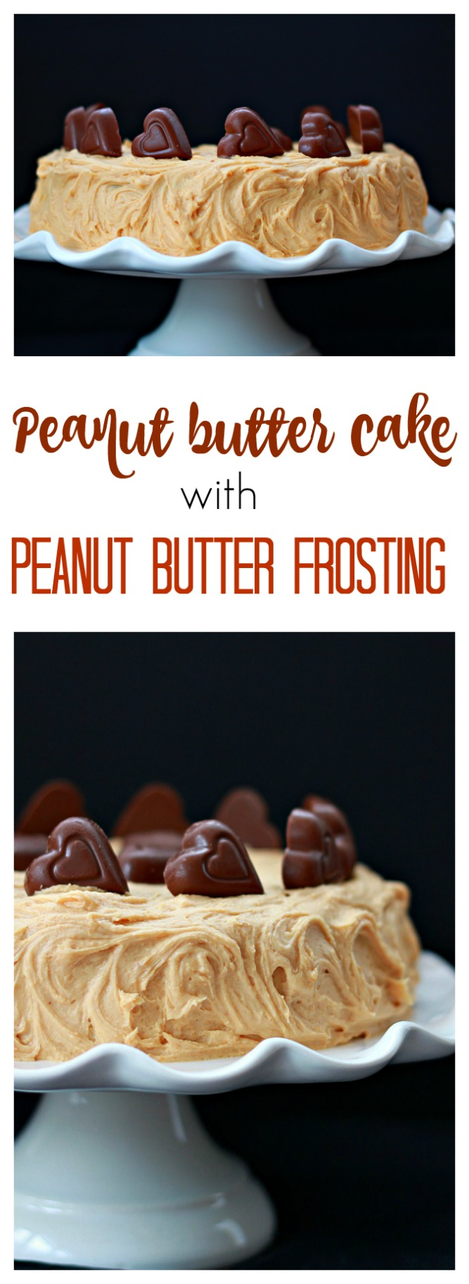 Light peanut butter cake with the best peanut butter frosting and chopped peanut butter cups. Deliciousness in every bite.