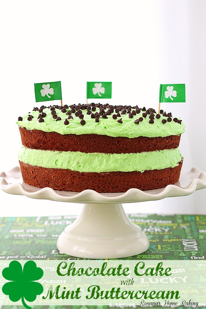 Chocolate cake with mint buttercream from Roxanashomebaking.com