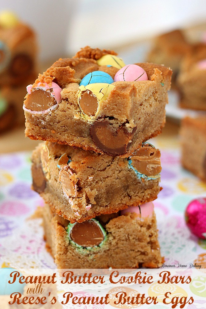 Peanut butter cookie bars with Reese's peanut butter eggs from Roxanashomebaking.com Just like a melt-in-you-mouth peanut butter cookie with an extra peanut butter touch