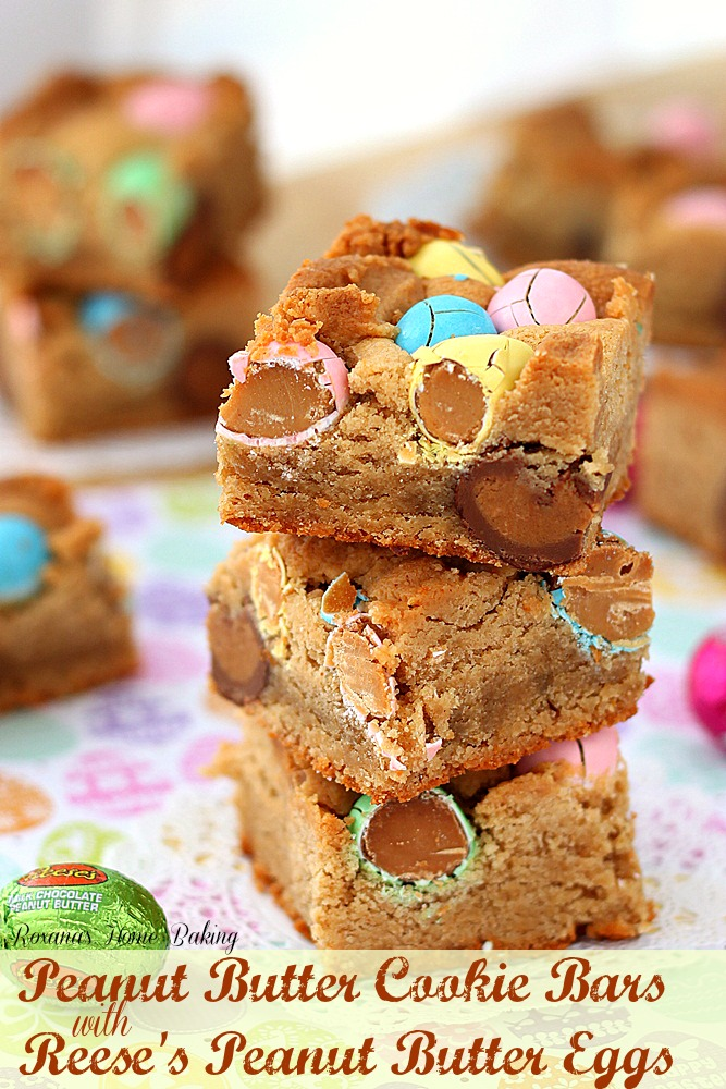Peanut butter cookie bars with Reese's peanut butter eggs - just ...