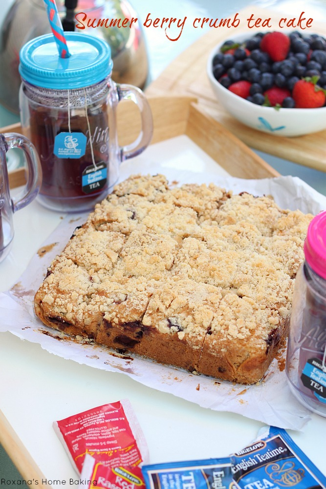 Summer berry crumb tea cake recipe from Roxanashomebaking.com Fresh and flavorful, with lots of sweet berries and packed high with a crumb topping, this tea cake is summer in one bite!