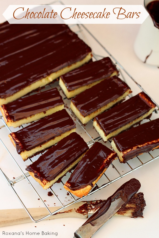 Triple chocolate cheesecake bars from Roxanashomebaking.com