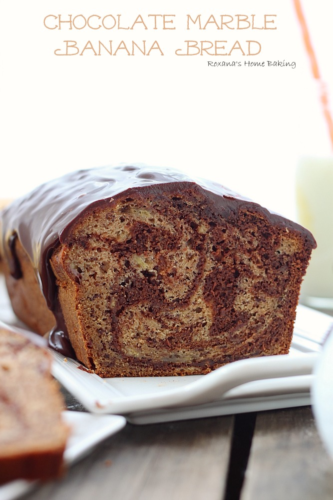 Chocolate marble banana bread from Roxanashomebaking.com  Rich semi-sweet chocolate swirled into a moist and delicious banana bread with a touch of cinnamon to bring out all the wonderful flavors.