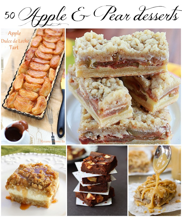 50 apple and pear desserts featured at Roxanashomebaking.com