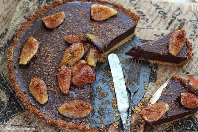 Roasted figs chocolate ganache tart recipe
