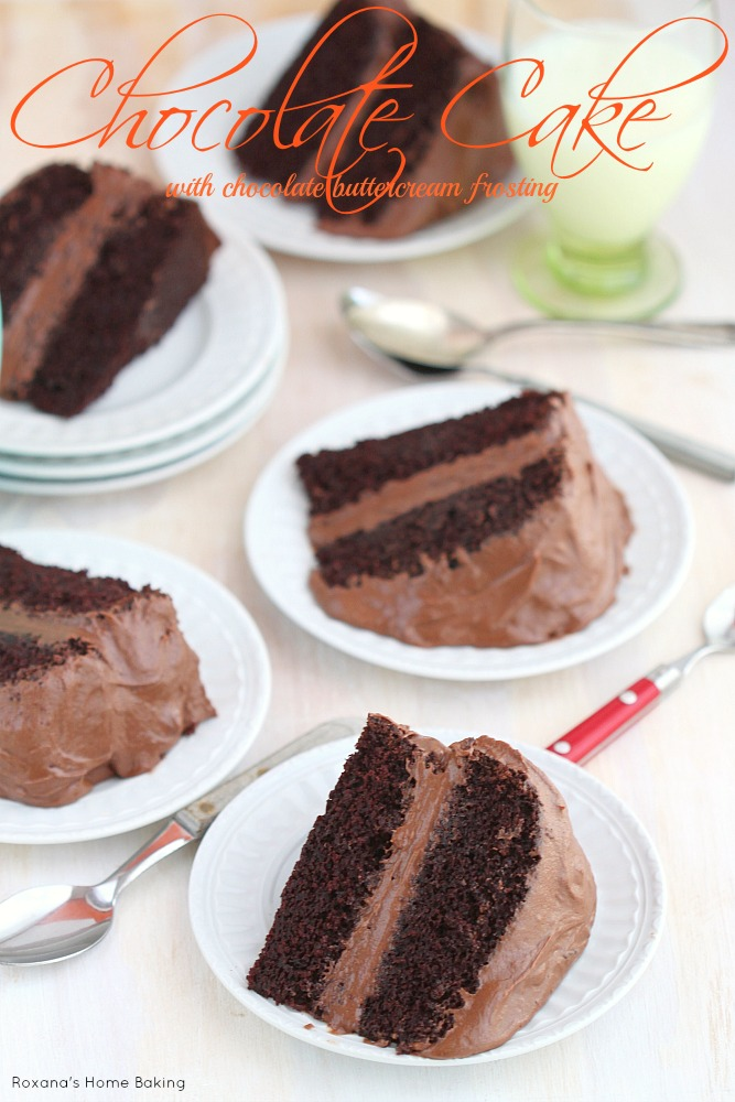 Covered in a luscious chocolate buttercream frosting, this chocolate cake with chocolate buttercream frosting from Roxanashomebaking.com