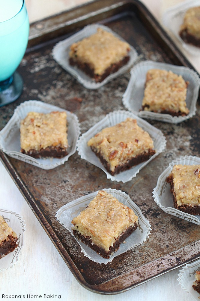 German Chocolate Brownies - Decadent, fudge brownies topped with an irresistible gooey coconut pecan frosting