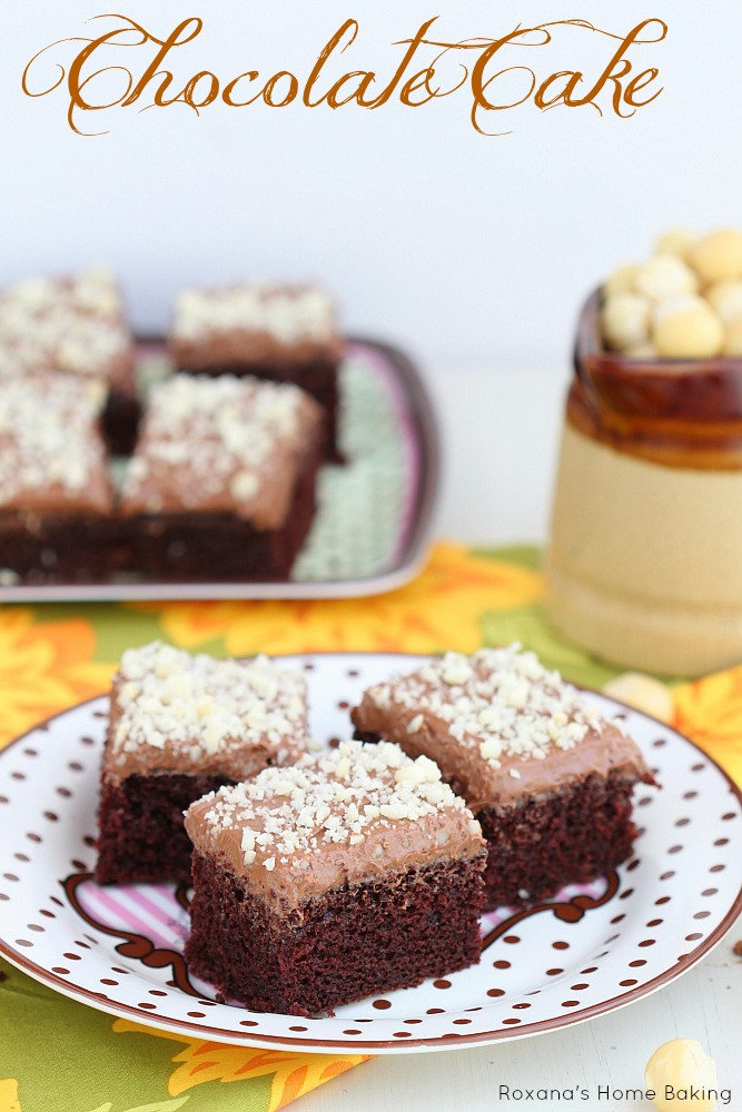 Light, fluffy and delicate chocolate buttermilk sheet cake topped with ...