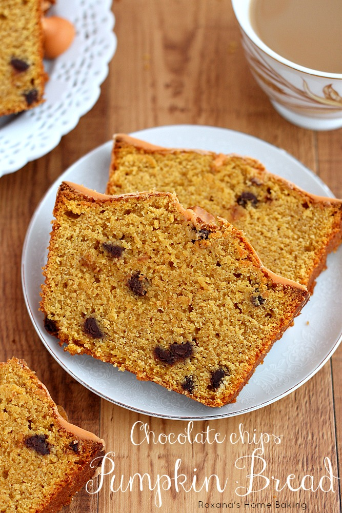 This easy, super moist chocolate chips pumpkin quick bread is packed ...