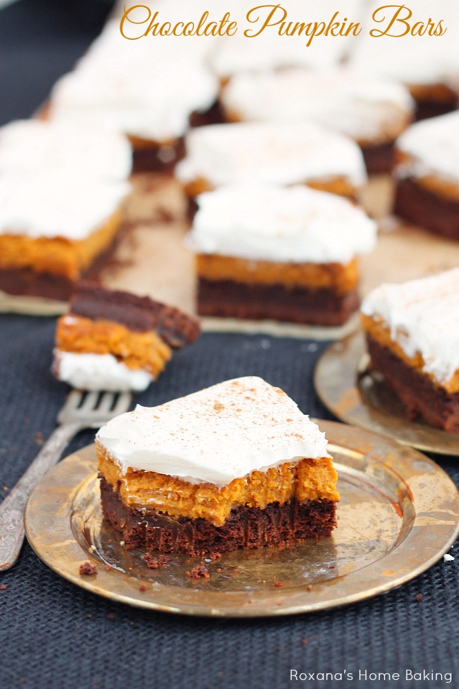 Chocolate pumpkin bars recipe perfect for fall potlucks these chocolate pumpkin bars feature layers or rich chocolate cake aloadofball