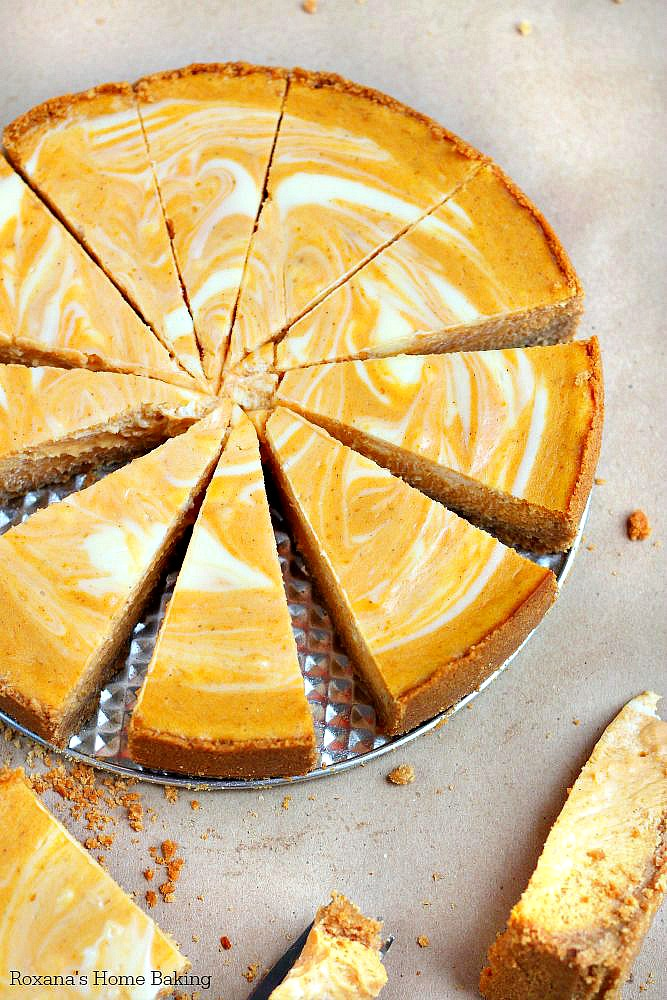 Two fall favorite desserts - pumpkin pie meets velvety cheesecake in this scrumptious marble pumpkin cheesecake. The perfect dessert for your Thanksgiving dinner party.