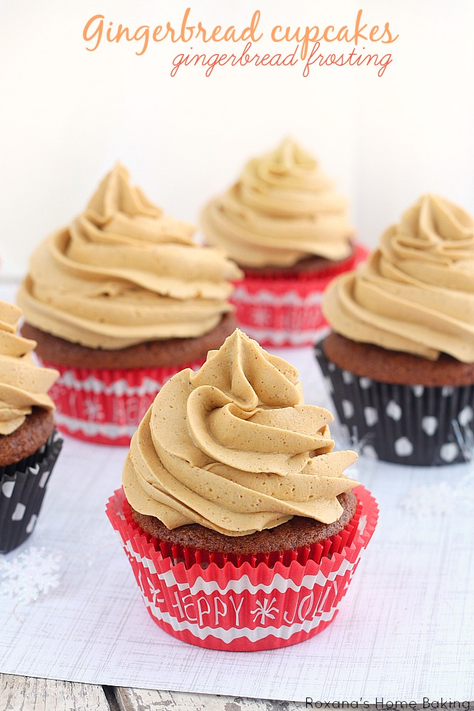 Gingerbread cupcakes with gingerbread frosting recipe from Roxanashomebaking.com