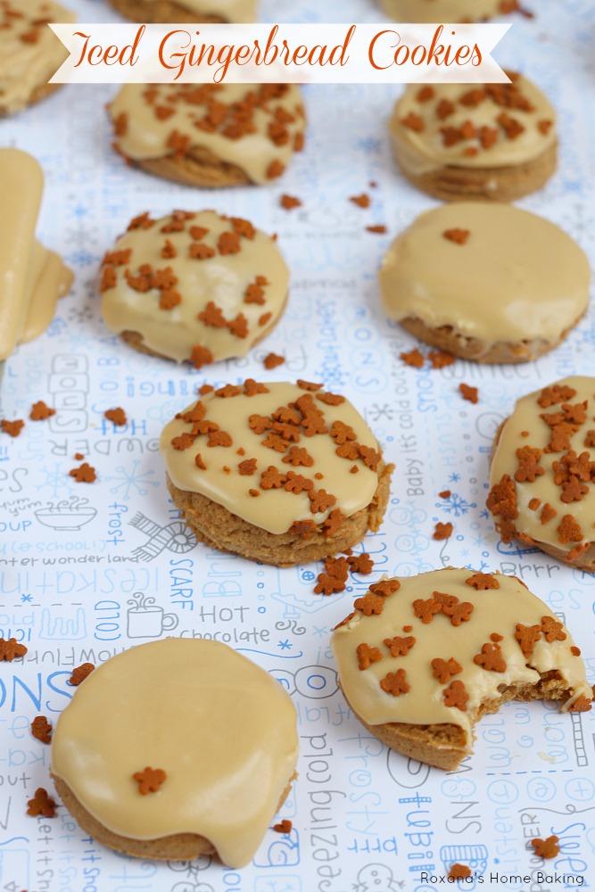 Iced gingerbread cookies. Recipe from Roxanashomebaking.com