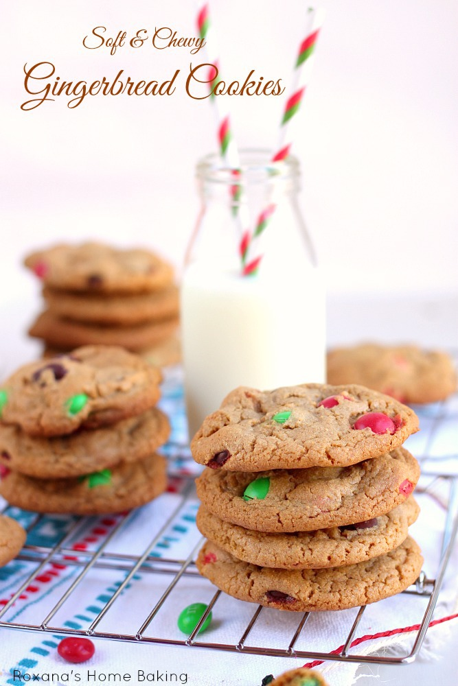 Soft and chewy ginger spiced cookies with a subtle molasses flavor packed with gingerbread flavored M&M's - perfect for the holiday cookie tray