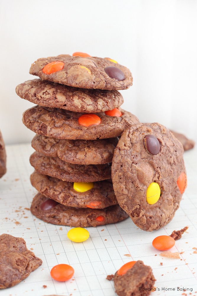 Double chocolate cookies packed with Reese's pieces