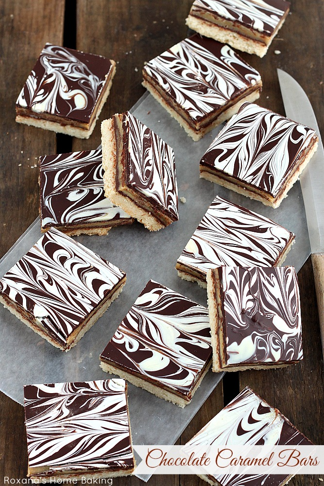 Chocolate caramel shortbread cookie bars recipe from Roxanashomebaking ...