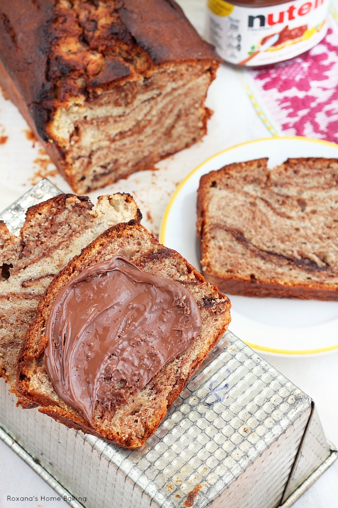 Incredible moist and soft banana bread with swirls of Nutella