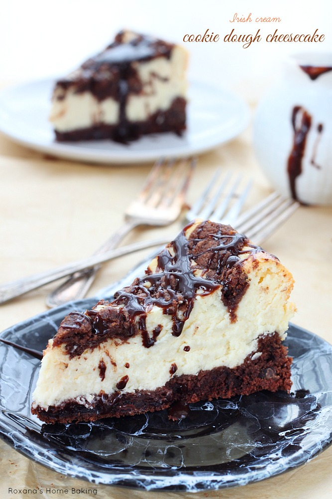 Fudgy chocolate layer topped with an silky smooth Irish cream cheesecake, this decadent cookie dough cheesecake is the best of both worlds!