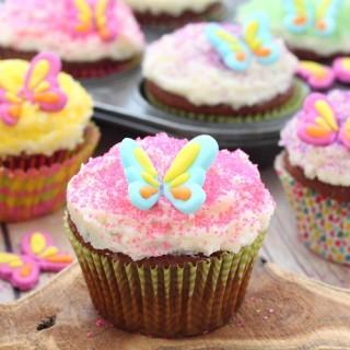 Garden fairy chocolate almond cupcakes