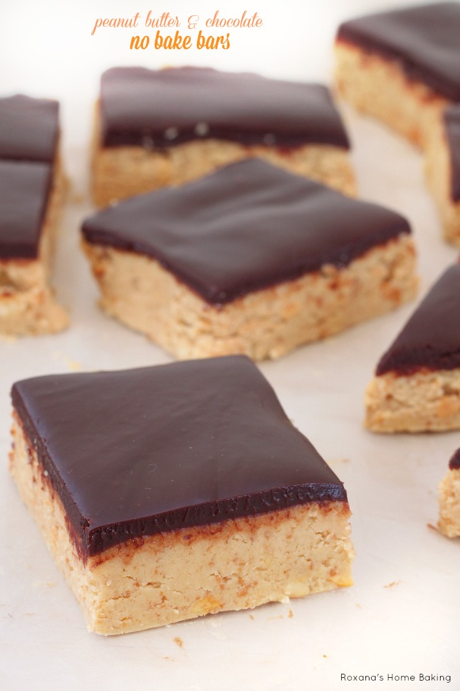 These peanut butter and chocolate bars are the perfect no bake treat for those of us who just can't resist peanut butter and chocolate!