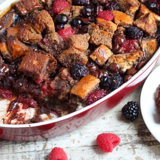 Berry chocolate french toast casserole