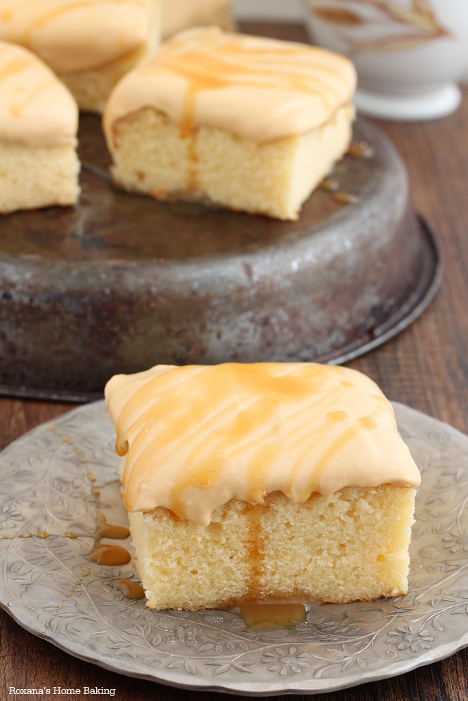 Caramel yogurt cake with rich silky caramel frosting