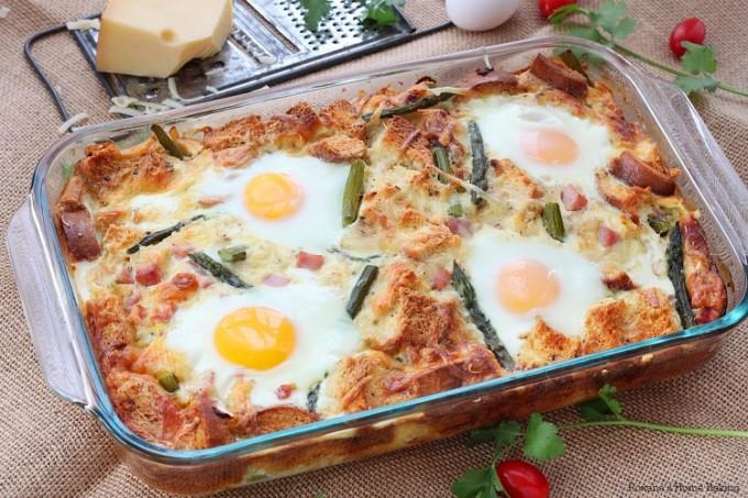 Egg Strata caramelized onion and asparagus strata recipe