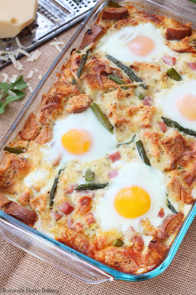Caramelized onion and asparagus strata recipe