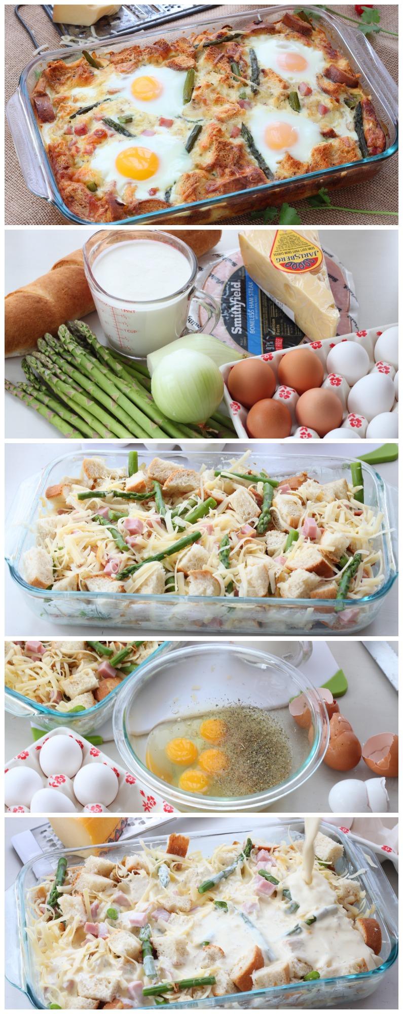 strataCaramelized onion and asparagus strata