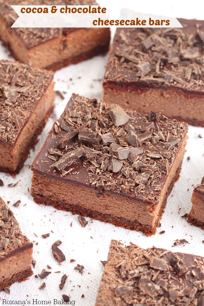 1 hour to make and bake, these chocolate cheesecake bars have chocolate goodness in every bite