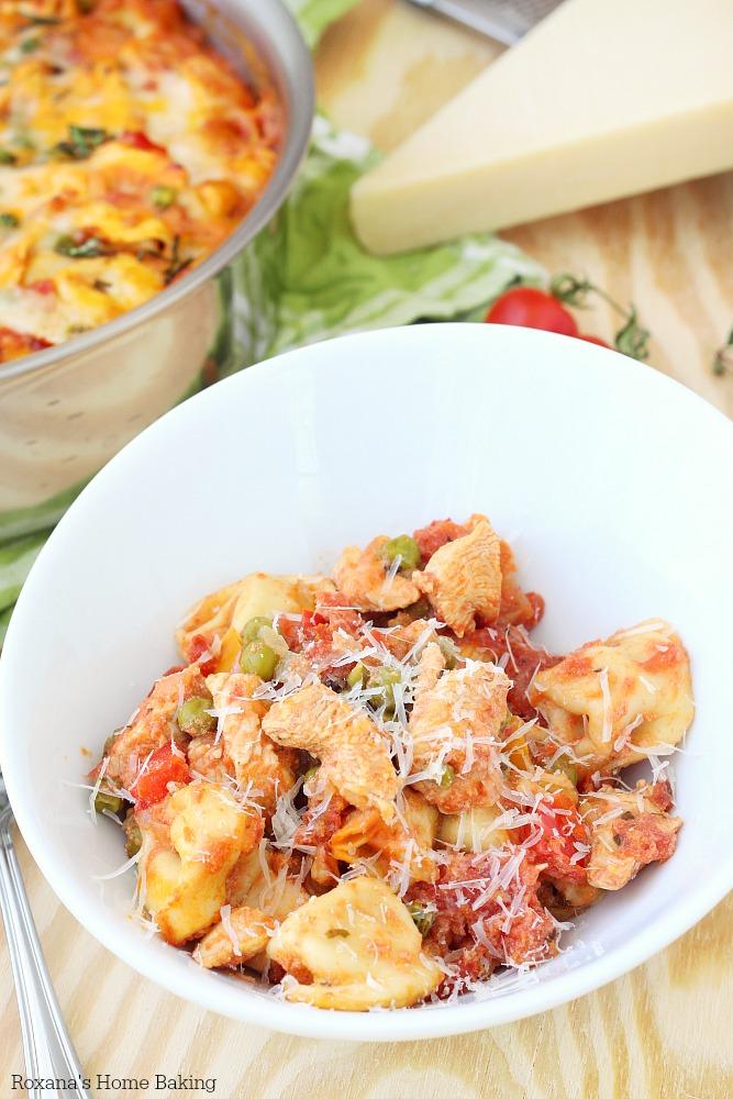 Creamy cheese tortellini and chicken skillet recipe
