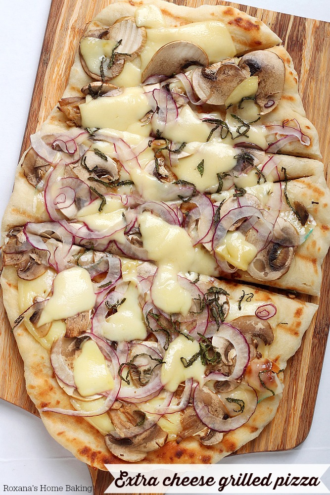 Topped with shaved vegetables and cheese and cooked on the hot grill, this grilled pizza will soon be your favorite outdoor summer treat