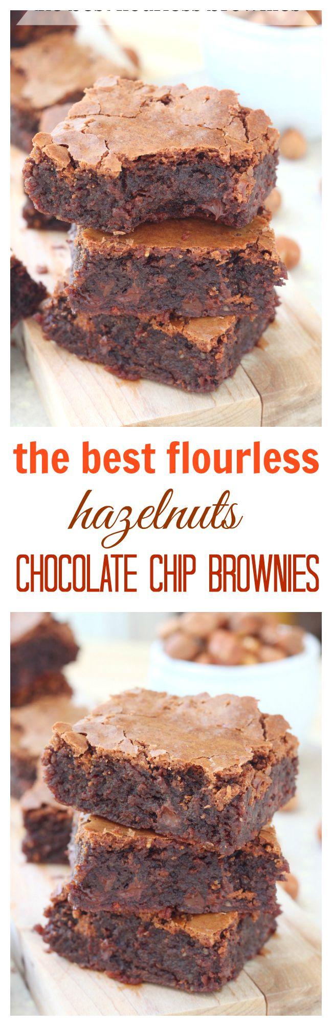 The best flourless hazelnut chocolate chip brownies recipe