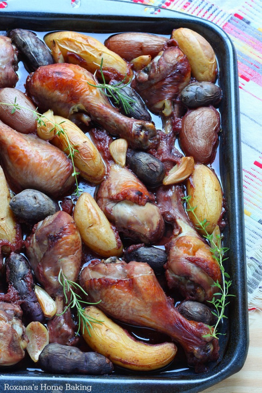 slow baked red wine chicken and fingerling potatoes recipe 1