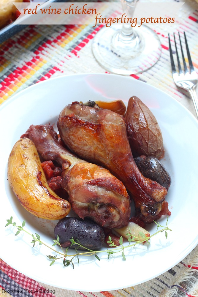 Slow baked in a low-temperature oven, this red wine chicken with fingerling potatoes has a rich, deep flavor from the well seasoned red wine and tomatoes marinade.