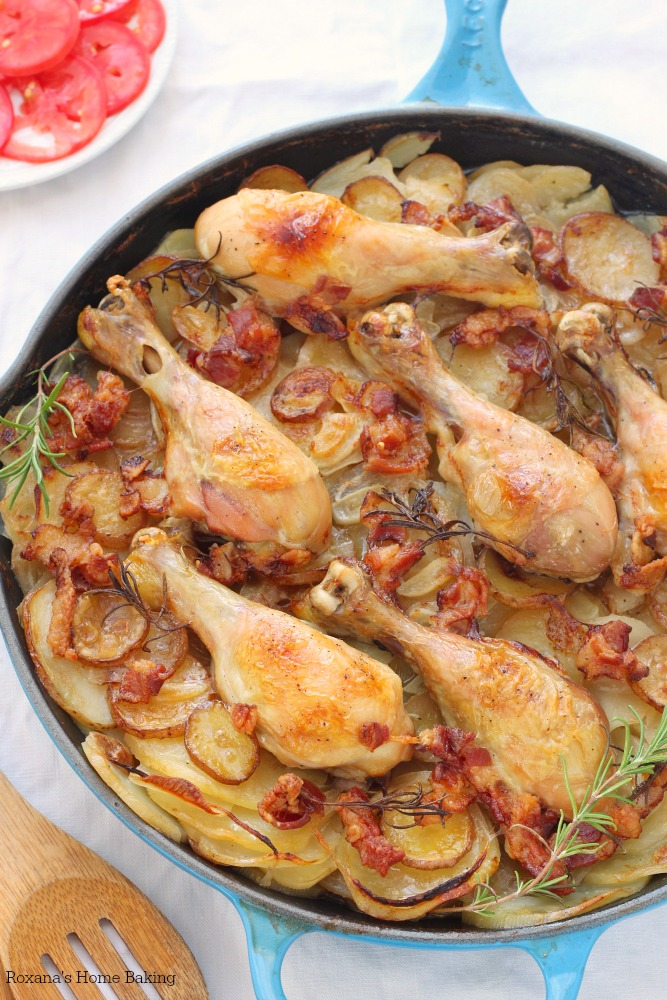 Tender chicken drumsticks cooked on top of layers of thinly sliced potatoes and onions make this potatoes chicken skillet a mouthwatering, flavorful meal.