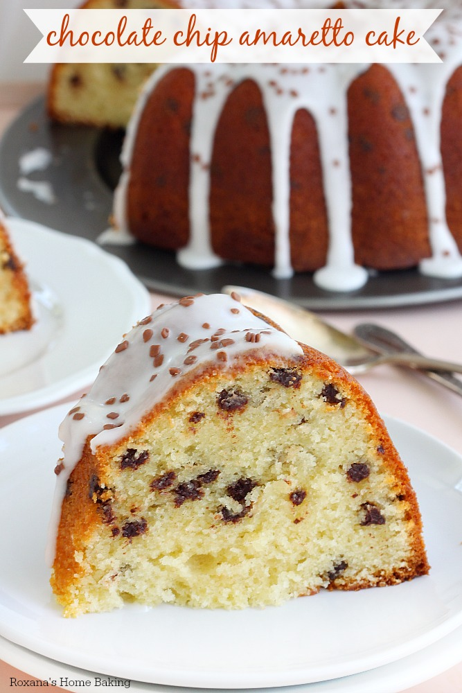A delightfully decadent dessert this chocolate chip amaretto cake is super soft and tender and is bursting with almond flavors from both the almond paste and amaretto creamer.