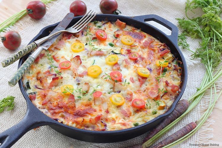 Make-ahead vegetable and bacon egg bake skillet recipe