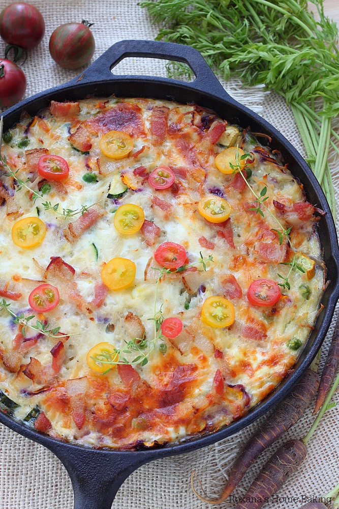 Make-ahead vegetable and bacon egg bake skillet recipe from Roxanashomebaking.com