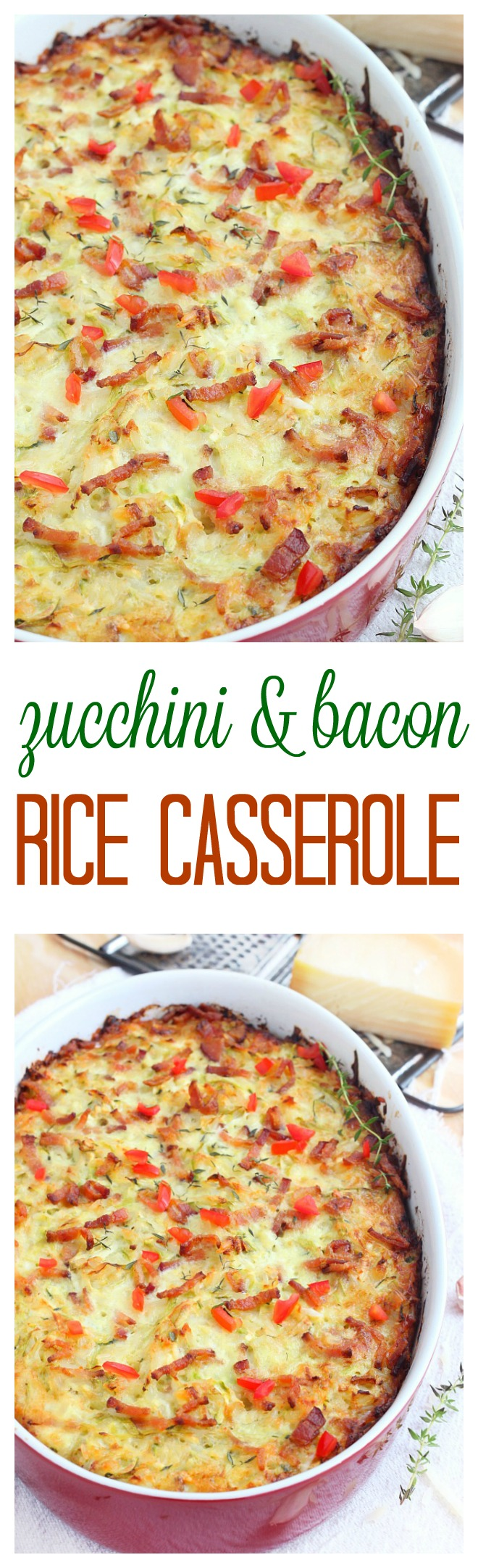 One mixing bowl and one casserole are needed to make this cheesy zucchini bacon rice casserole. Make it ahead of time and bake it just before dinner.