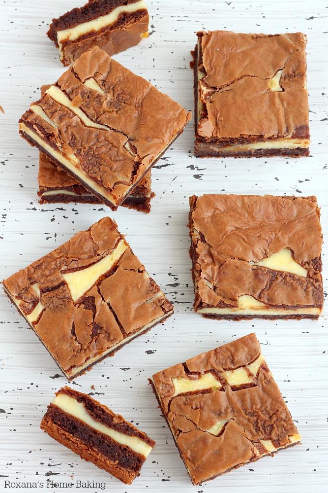 Cheesecake brownie bars recipe from Roxanashomebaking.com