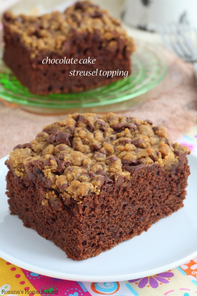 So easy to whip up, this chocolate cake with streusel topping will soon become your go-to snack cake with your morning cup of coffee. It's just so good! No frosting needed, the chocolate chip streusel topping will do the trick.