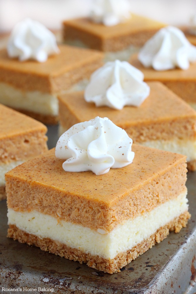 So easy to make and with the right amount of pumpkin flavor, these pumpkin cheesecake bars taste exactly like a cheesecake that crossed paths with a pumpkin pie – the best of both worlds!