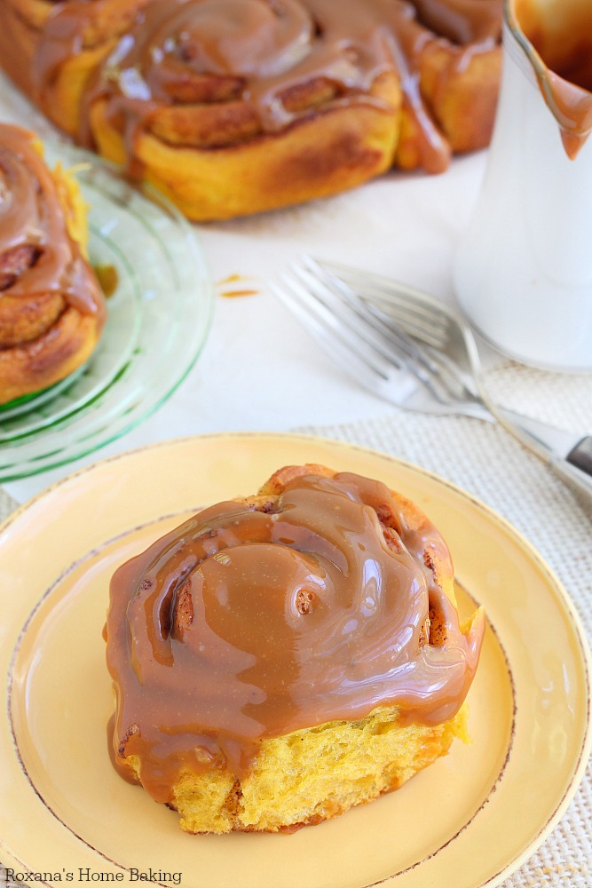 Pumpkin cinnamon rolls with caramel icing recipe